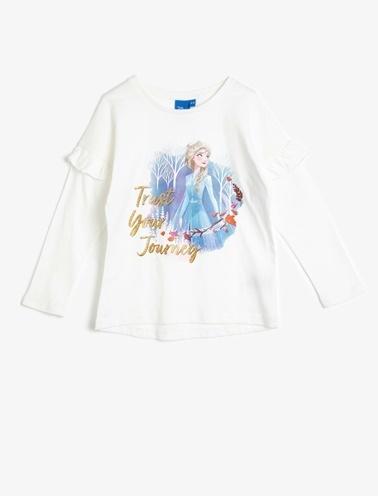 Koton Kids Frozen Lisanslı Baskılı T-Shirt Ekru